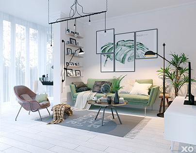 Scandinavian interior in 62 m2