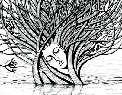 Set of black and white illustrations