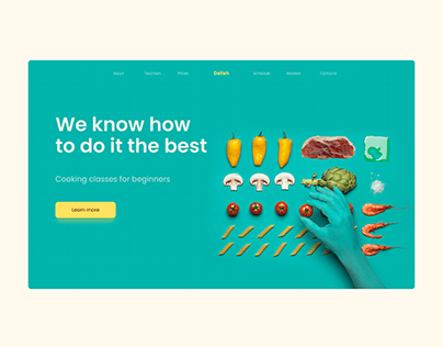 Delish cooking classes main page concept