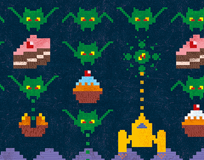 Pixel Love Art card: Birthday blast