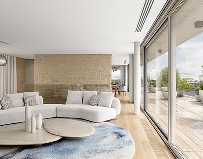Lounge and party floor. Buonas, Switzerland. Full CGI