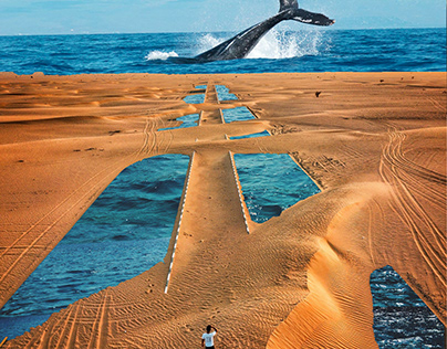Moby Dick in the desert (collage art)
