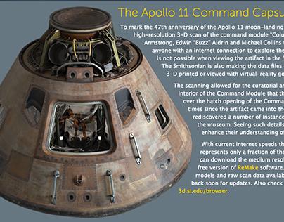 Apollo 11 Command Module landing page