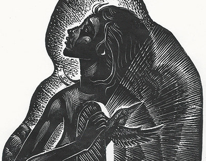 Women who are Flying with King Fishers | Wood Engraving