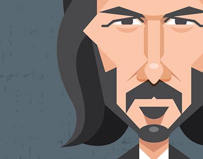 John Wick Vector Caricature | Adobe Illustrator