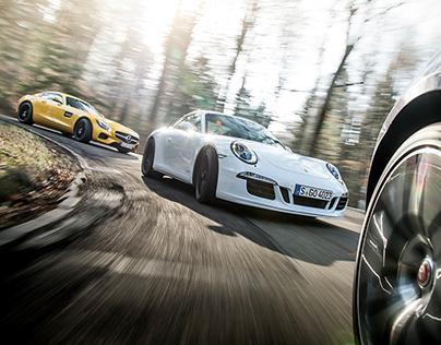 Jaguar F-Type R, Mercedes AMG GT, Porsche 911 GTS