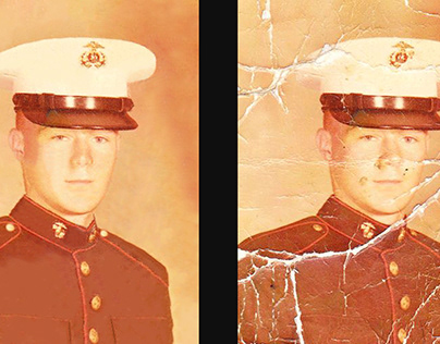 Old damaged photo retouch