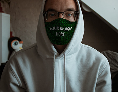 Free Mask Mockup on a Guy in a Hoodie