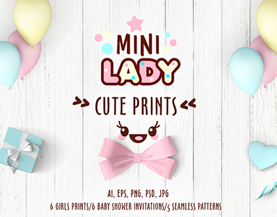Collection of cute prints for little girls.