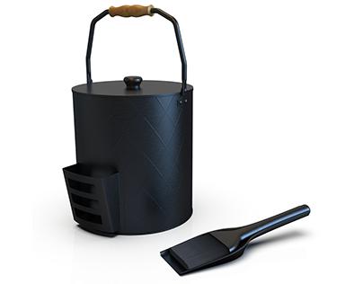 Ash bucket, shovel, and spade