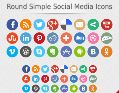 Round Simple Social Media Icons (Updated)