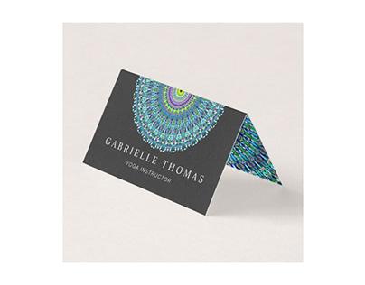Floral Mandala Ornament Folded Business Card