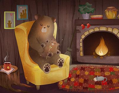 The sleeping animals children book illustration