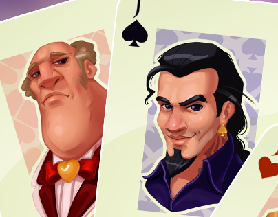 Character sketches for playing cards