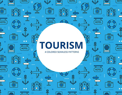 Tourism Vector Free Seamless Pattern