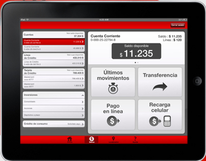 iPad Bank Santander Chile App