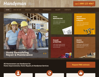 Handyman Home Improvement Service Bootstrap Template On Behance - Home remodeling website templates