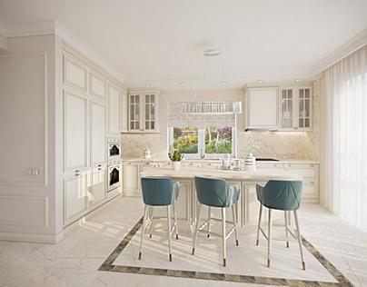 interior design of the living room kitchen 56.72m2