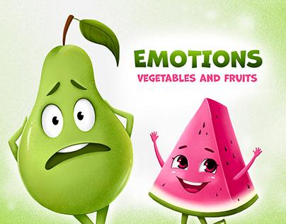 Fruits and vegetables cards design for children