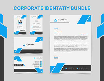 Letterhead, id card, business card with 3 color