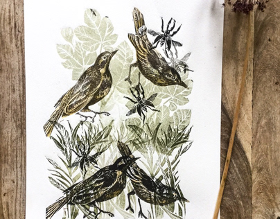 Linocut birds sand foliage