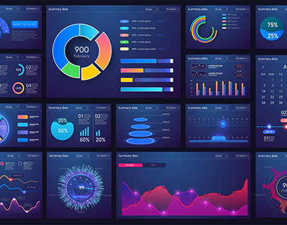 Data visualisation screens HUD Infographic Charts graph
