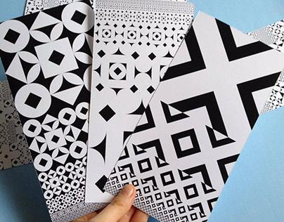 Black & white patterned cards