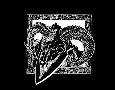 Linocut - Poseidon and Hunting Season