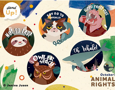 Animal Rights (October) Stand Up stickers