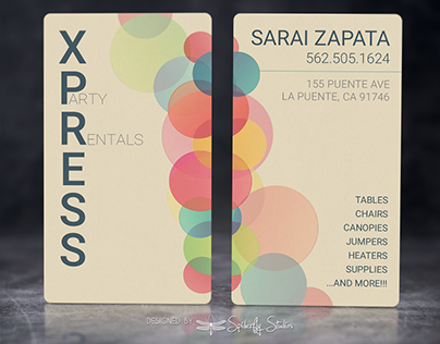 Xpress Party Rental Business Cards