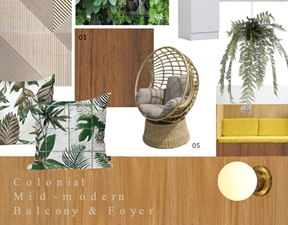 Colonial + Mid-century Modern Design | Moodboards