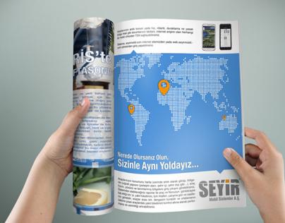 """Seyir Mobil Sistemler"""" Dergi İçi Reklam Tasarımları"""