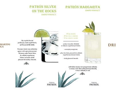 Drink menu Bombay & Dewar's & Patrón Tequila