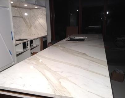 Küche aus Calacatta Borghini Marmor