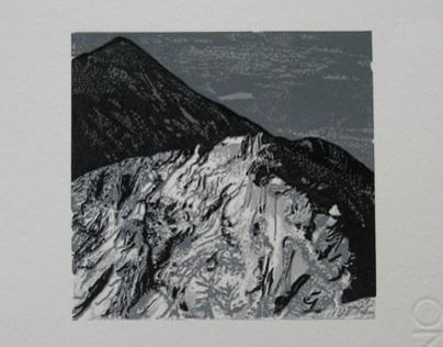 """Żółta Turnia"" (Tatra Mountains) - linocut"