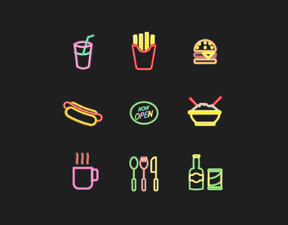 Neon Fast Food Iconset.