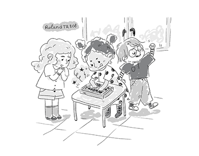 Children playing synths