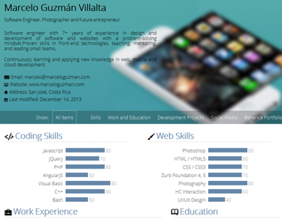 Digital Curriculum Vitae / Resume and Portfolio