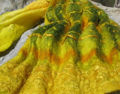 Yellow Scarf, Nuno Felt, wool, silk, lace, silk fibres.