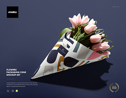 Flowers Packaging Cone Mockup Set
