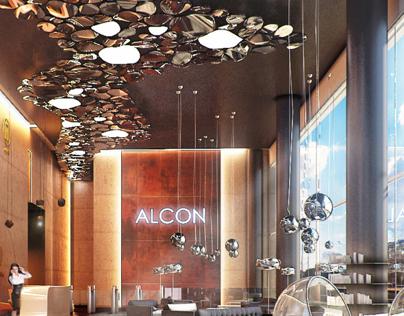 Design of the entrance area. Alcon development.