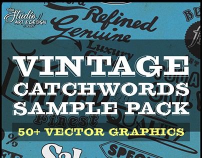 Vintage Catchwords and Retro Badges