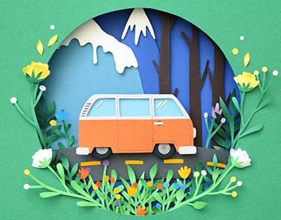 Road Trip | Paper art
