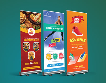 Roll-up Banner's design with free template & Mockup