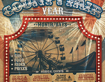 Vintage County Fair Carnival Flyer Template on Behance
