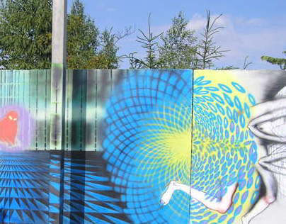 """Painting on wall  """"Large Hadron Collider"""""""