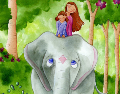 Elephant Ride Watercolor Illustration