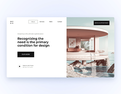 Hero section for the landing page of architect agency