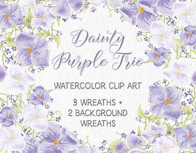 Dainty set of watercolor wreath in purple shades