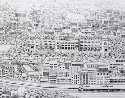 Bangalore Panorama Penwork